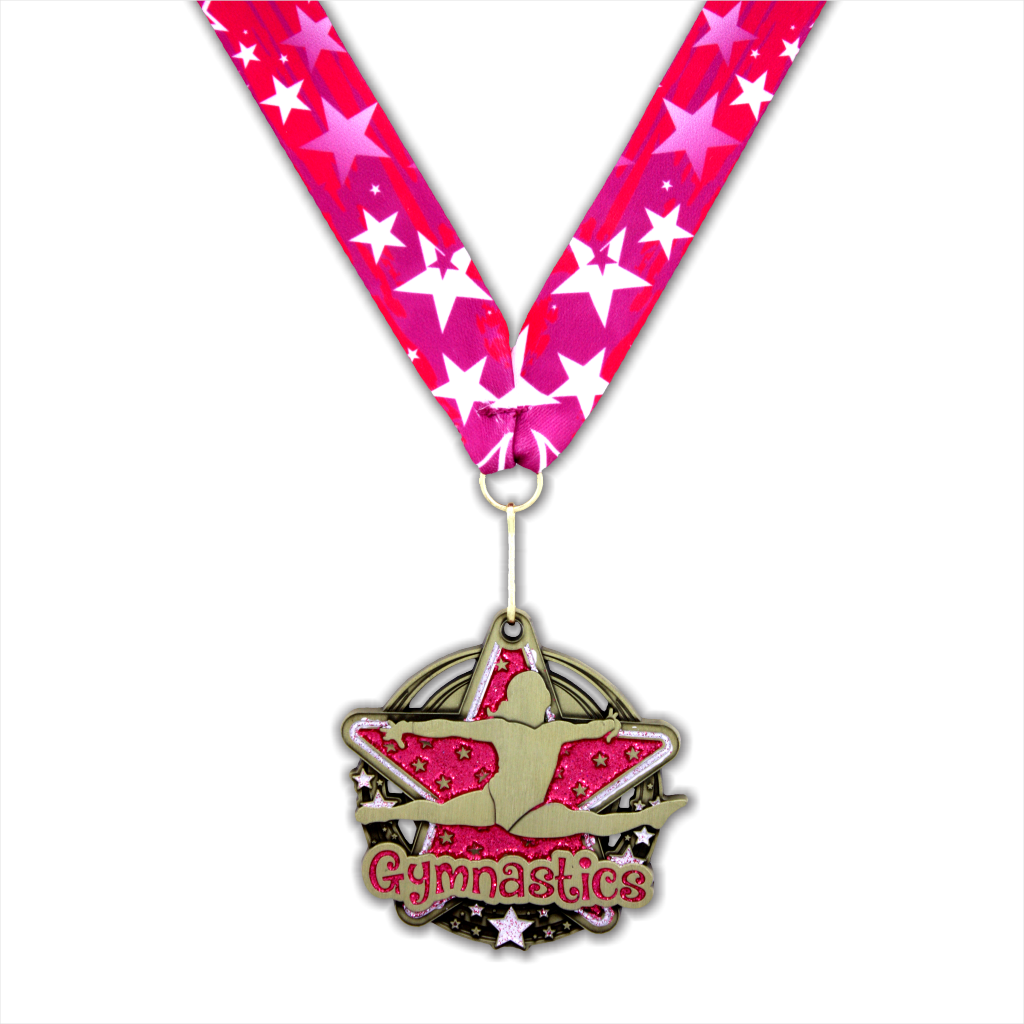 "2-3/4"" Female Gymnastics Pink Star Dazzle Series Medal [MED-431]"