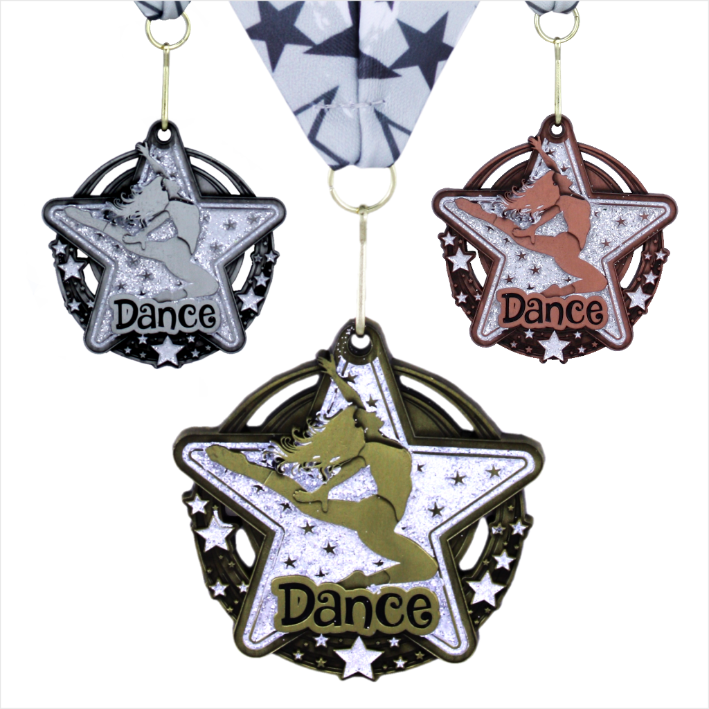 "2-3/4"" Dance Clear Star Dazzle Series Medal"